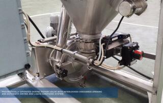 Pneumatically operated dosing rotatory valve